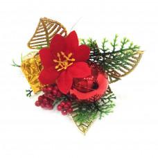 Новогодняя декоративная веточка с рябиной и пуансеттией, 24 см