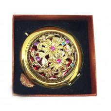 Карманное зеркальце с камнями в подарочной упаковке, 7 см
