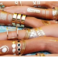 Временные татуировки Shimmer Jewelry Tattoos, комплект 70 шт. золотые и  серебряные